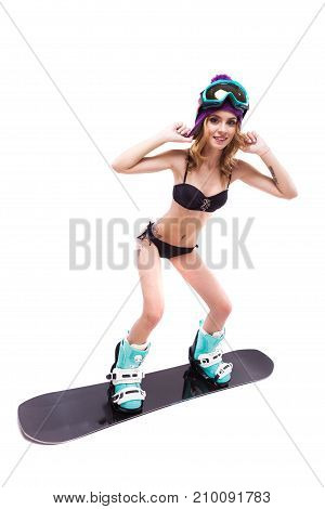 Slim Blonde Woman Standing On Snowboard