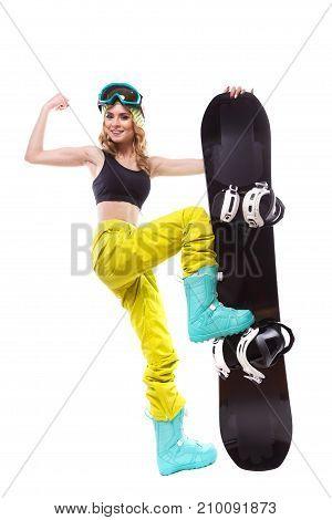 Pretty Sport Girl With Snowboard Show Biceps