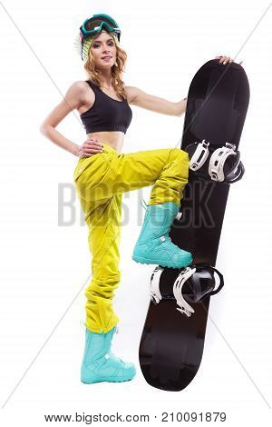 Slim Girl Stands Wiht Snowboard One Leg On