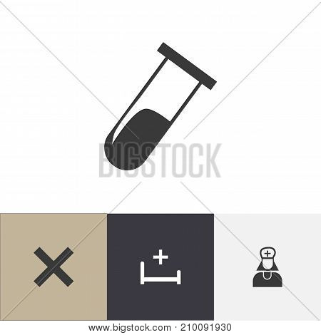 Set Of 4 Editable Hospital Icons. Includes Symbols Such As No Check, Hospital Assistant, Test Tube And More