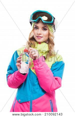 Blonde Girl With Water Bollte Snowboard Suit
