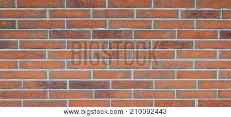 Wide grunge vintage decoration red brick wall background