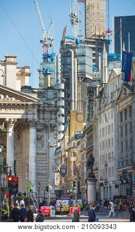 London, UK - March 15, 2017: Royal exchange building at the Bank of England square and