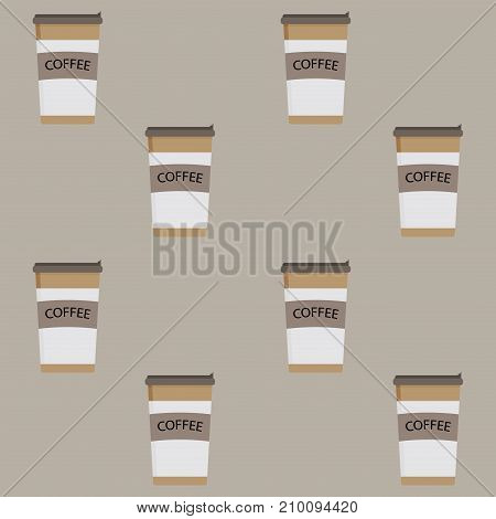 Take away pattern coffee cup seamless. Drink espresso and hot beverage takeaway coffe latte. Vector illustration