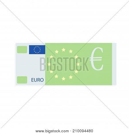 Euro banknote design flat cartoon. European money design banknote cash note bill share and bonus vector illustration