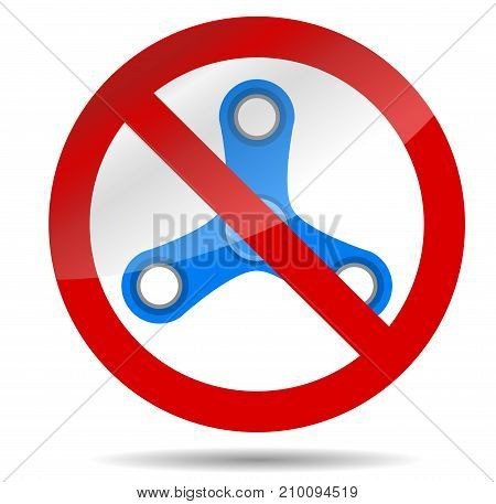 Ban spinner symbol. Ban and prohibited fidget spiner no spinner rotation. Vector illustration