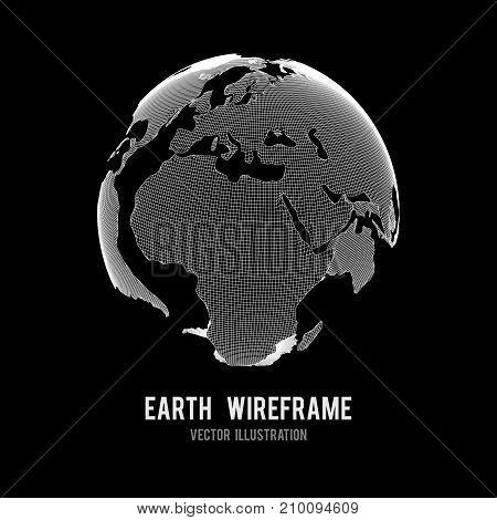 Wireframe planet Earth globe. Design poly mesh vector illustration