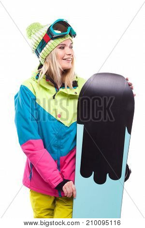 Beautiful Young Blonde Woman In Colorful Snow Coat Hold Snowboard