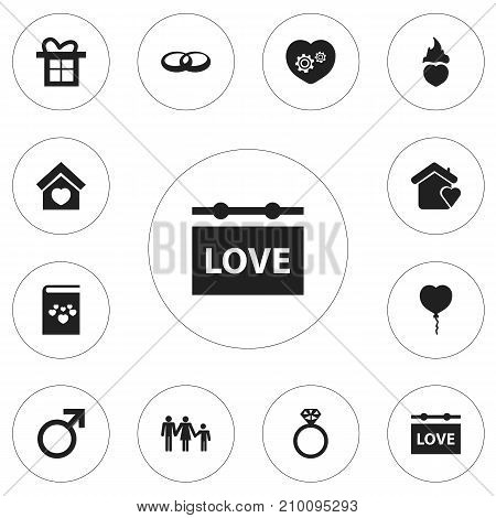 Set Of 12 Editable Amour Icons. Includes Symbols Such As Wedding, Valentine Balloons, Lineage And More