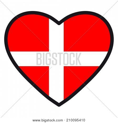 Flag of Denmark in the shape of Heart with contrasting contour, symbol of love for his country, patriotism, icon for Independence Day.