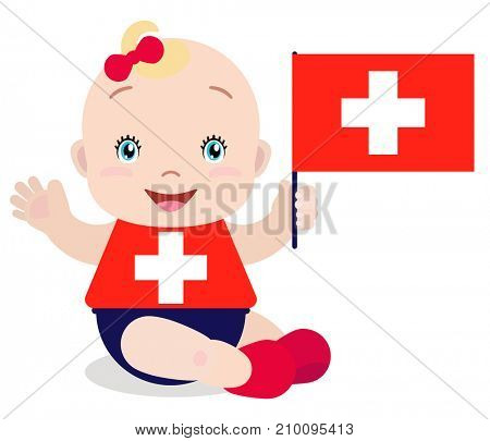 Smiling baby toddler, girl holding a Switzerland flag isolated on white background. Cartoon mascot. Holiday illustration to the Day of the country, Independence Day, Flag Day.