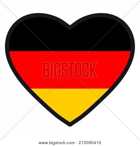 Flag of Germany in the shape of Heart with contrasting contour, symbol of love for his country, patriotism, icon for Independence Day.