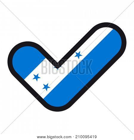 Flag of Honduras in the shape of check mark, sign approval, symbol of elections, voting.