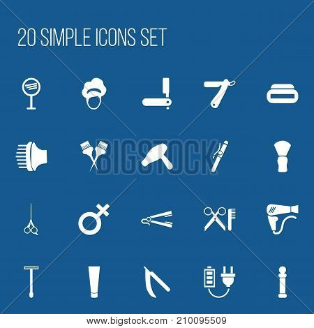Set Of 20 Editable Coiffeur Icons. Includes Symbols Such As Cosmetics, Shaving, Airflow And More