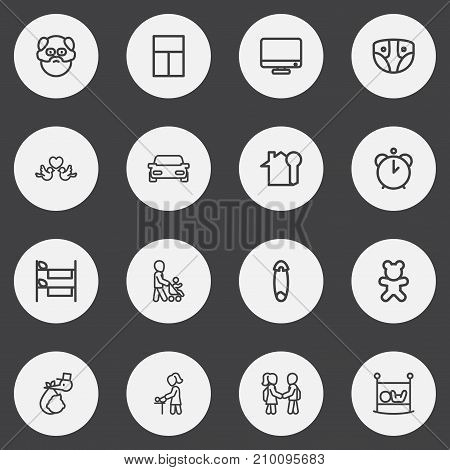 Set Of 16 Editable Kin Outline Icons. Includes Symbols Such As Grandfather, Automobile, Infant Bed