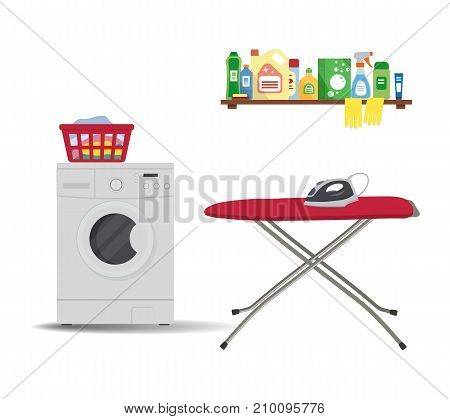 Laundry room. There is a washing machine, red ironing board, iron, a basket with linens in the picture. There is also a shelf with detergents here. Vector illustration.