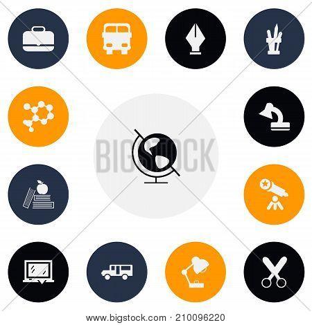 Set Of 13 Editable School Icons. Includes Symbols Such As Blackboard, Pen Holder, Portfolio And More