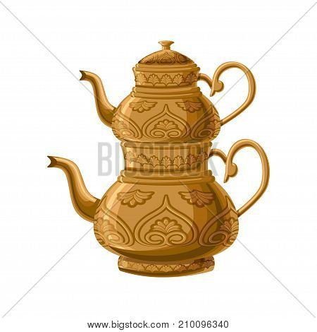 Turkish traditional antique decorated copper teapot with double kettles isolated on white background. Turkish antique utensils series, part 1 of 5. Cartoon vector illustration in flat style.