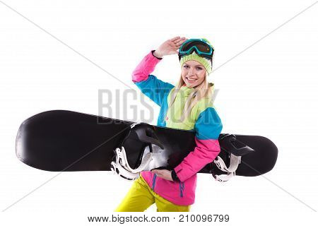 Beautiful Young Woman In Ski Outfit And Ski Glasses Hold Snowboard