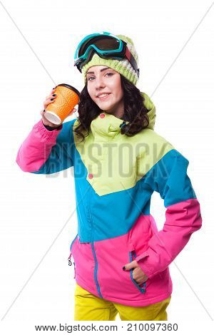 Beautiful Young Woman In Ski Outfit And Ski Goggles Blue Snow Boots