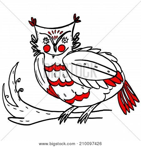 Owl in folklore style in black and red colors sitting on tree branch. Colorful animal design. Beautiful hand drawn bird. Traditional folk art for prints, clothes, embroidery, fabric, cards, posters.