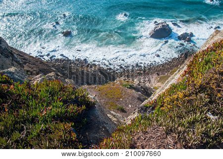 Cabo da Roca, Portugal. cliffs over Atlantic Ocean, the most westerly point of the European mainland