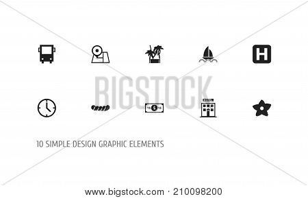 Set Of 10 Editable Travel Icons. Includes Symbols Such As Omnibus, Helipad, Cold Drink And More