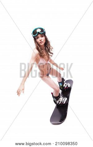 Pretty Sexy Woman In Pink Bikini And Sunglasses Ride Snowboard