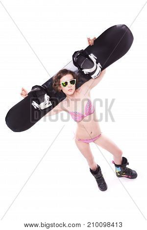 Attractive Sexy Woman In Pink Bikini And Sunglasses Hold Black Snowboard