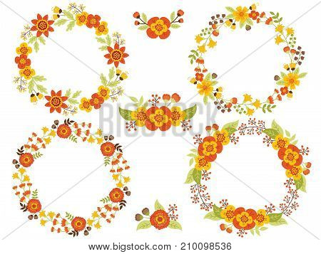 Vector set of floral wreaths. Vector autumn floral collection with wreath and bouquets. Vector floral elements for wedding, bridal shower, birthday and thanksgiving. Vector floral wreath. Fall wreaths vector illustration