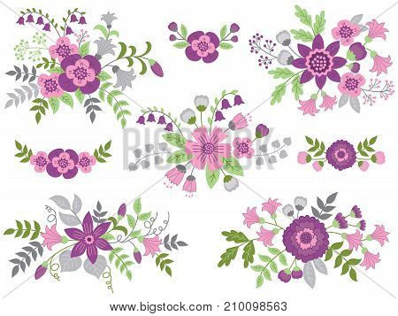 Vector set of floral bouquets. Colorful collection with purple, pink flowers and green leaves. Vector floral elements for wedding, bridal shower and birthday. Vector floral bouquet. Bouquets vector illustration.