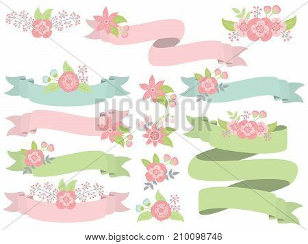 Vector set of floral pastel ribbons. Set includes green, pink and turquoise  ribbons. Vector ribbons. Floral ribbons vector illustration