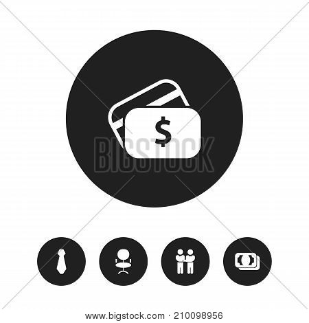 Set Of 5 Editable Job Icons. Includes Symbols Such As Cravat, Currency, Ergonomic Seat And More