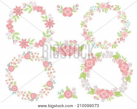 Vector set of pink pastel floral wreaths and bouquets. Vector floral pastel elements for wedding, birthday and bridal shower. Vector floral wreath. Wreaths vector illustration
