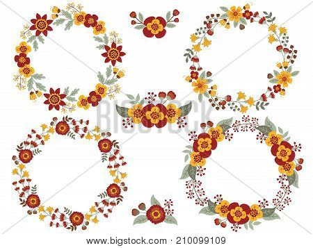 Vector set of floral wreaths and bouquets. Vector floral elements for wedding, bridal shower, birthday and thanksgiving. Vector floral wreath. Fall wreaths vector illustration