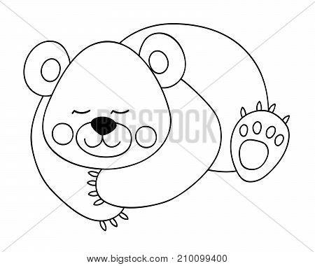 Vector black and white cute cartoon bear sleeping. Vector bear cub. Bear vector illustration