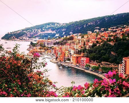 Panoramic view of the French Riviera near the town of Villefranche-sur-Mer French Riviera France