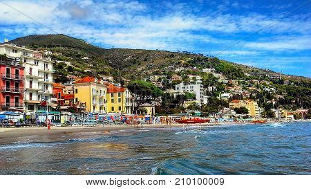 Beautiful view of the sea and the town of Alassio with colorful buildings Liguria Italian Riviera region San Remo Cote d'Azur Italy