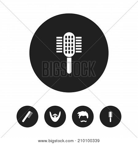 Set Of 5 Editable Coiffeur Icons. Includes Symbols Such As Stubble, Comb, Salon And More