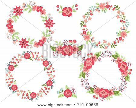 Vector set of pink floral wreaths and bouquets. Vector floral elements for wedding, birthday and bridal shower. Vector floral wreath. Wreaths vector illustration