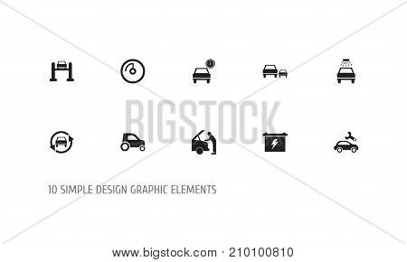 Set Of 10 Editable Transport Icons. Includes Symbols Such As Service, Mechanic, Transport Clean And More