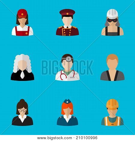 Set Of 9 Editable Profession Flat Icons. Includes Symbols Such As Servant, Lawyer, Medic And More