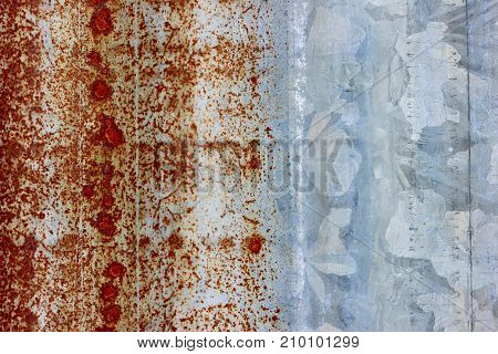 Rusty corrugated silver metal macro background texture