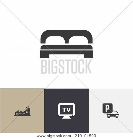 Set Of 4 Editable Plaza Icons. Includes Symbols Such As Auto Stand, Monitor, Building