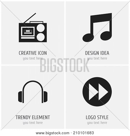 Set Of 4 Editable Multimedia Icons. Includes Symbols Such As Cassette Player, Music, Ahead And More