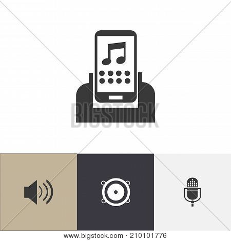 Set Of 4 Editable Mp3 Icons. Includes Symbols Such As Sound, Microphone, Media Device And More