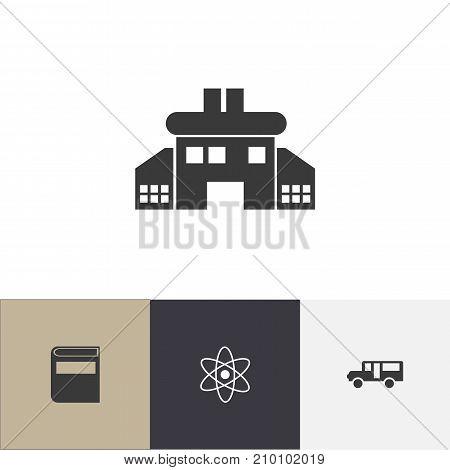Set Of 4 Editable School Icons. Includes Symbols Such As Literature, Autobus, Molecule And More