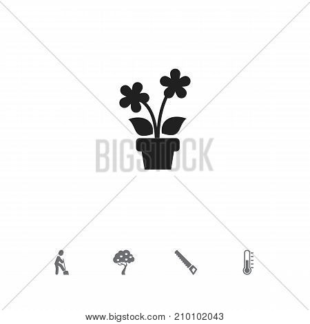 Set Of 5 Editable Gardening Icons. Includes Symbols Such As Blooming, Fruit Woods, Ground Shoveling And More