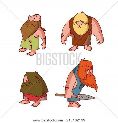 Collection of colorful vector illustrations of cartoon cavemen