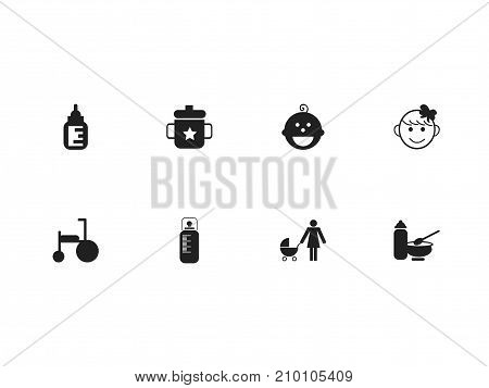 Set Of 8 Editable Child Icons. Includes Symbols Such As Feeder, Perambulator, Nutrition And More
